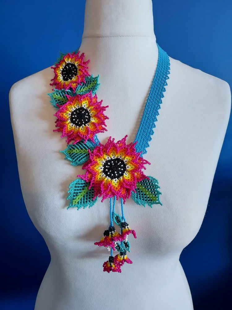 3 Flower Offset Sunflower - Turquoise and Fuchsia