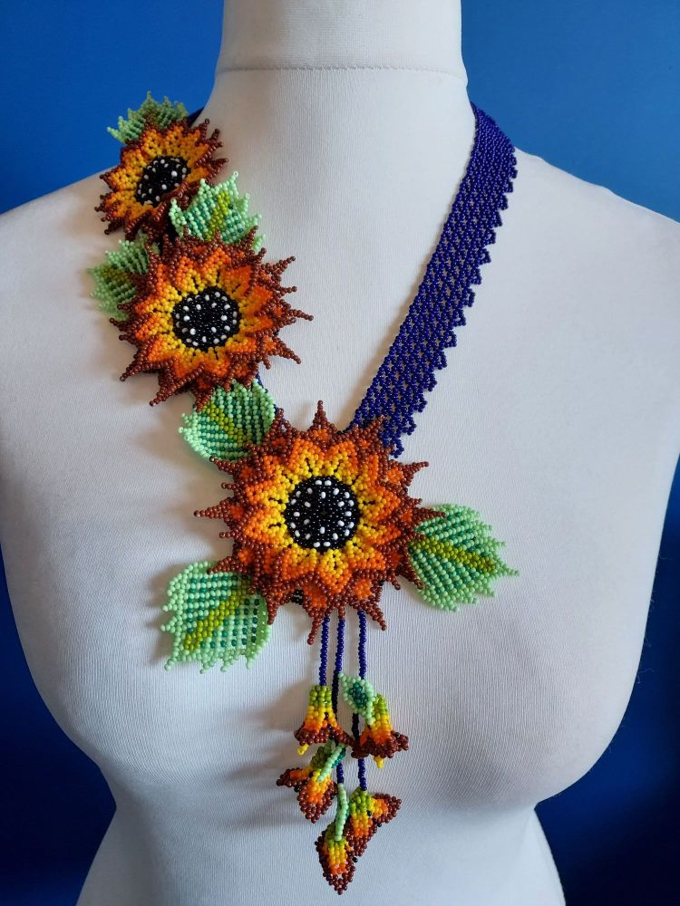 3 Flower Offset Sunflower - Navy Sunflower
