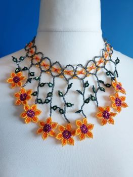Peach Collar Beaded Flower Necklace