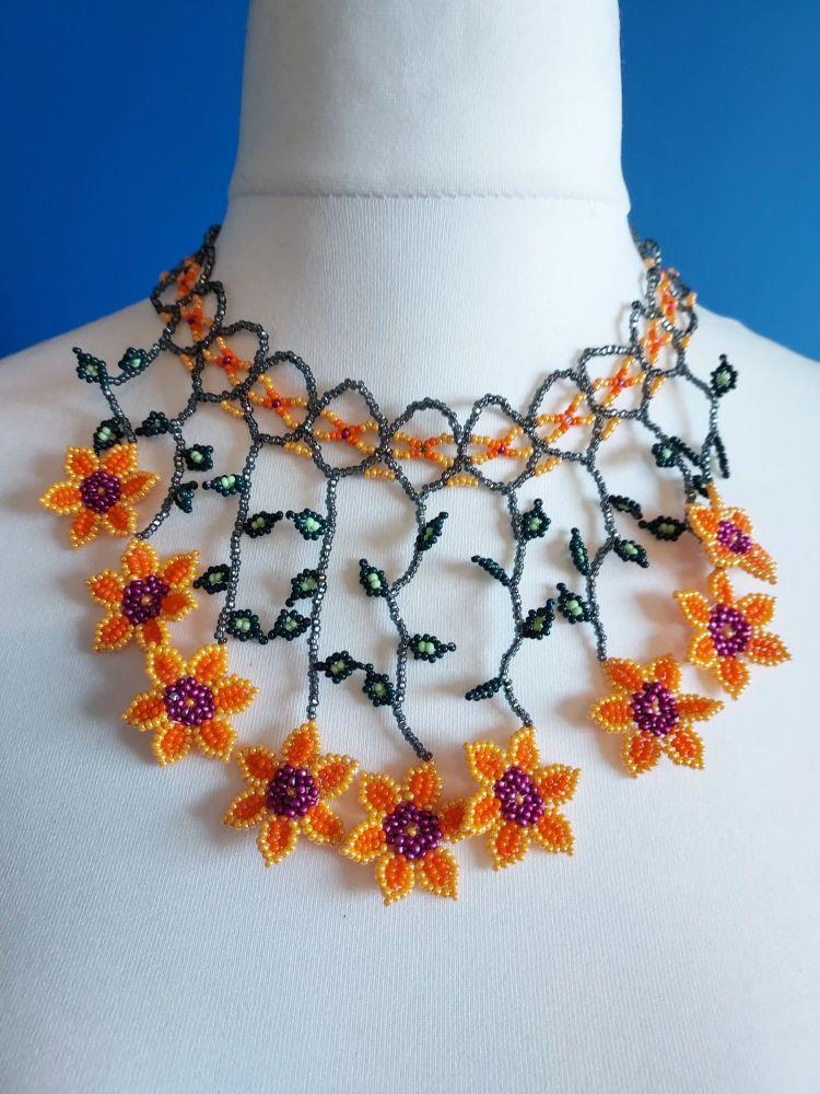 Peach Collar Beaded Flower Necklace