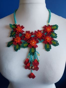 7 Flower Panel Necklace - Turquoise and Red