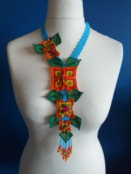 Long Huichol Square Flower Necklace