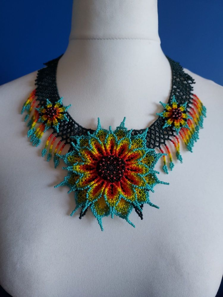 Turquoise Sunflower Intricate Collar Necklace