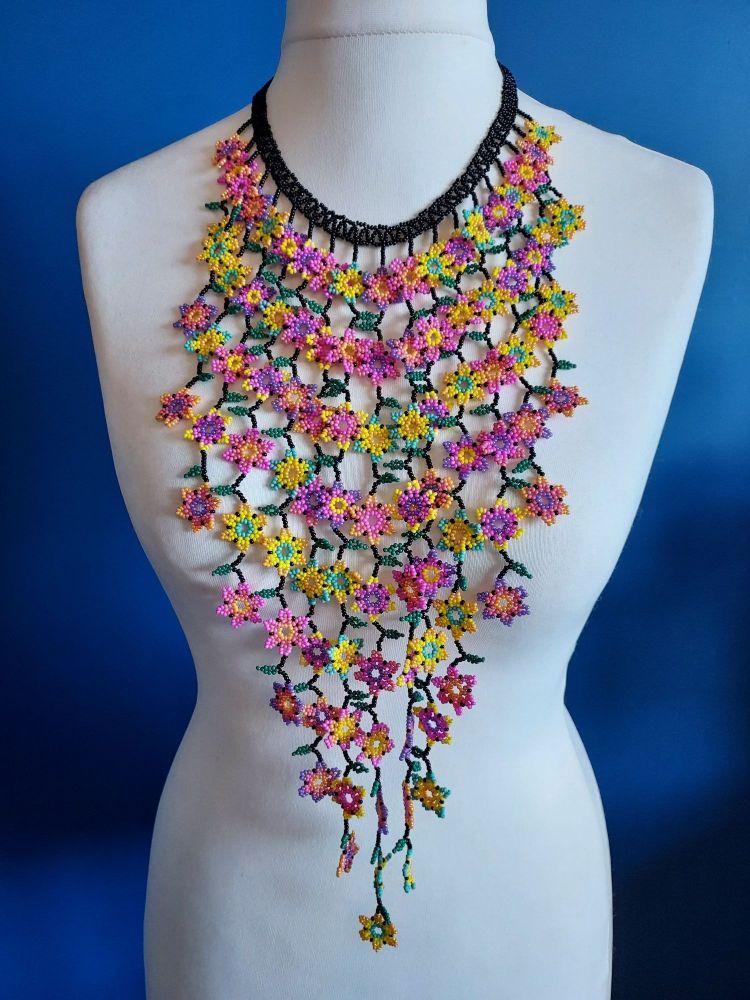 Rainbow Flower Waterfall Beaded Necklace