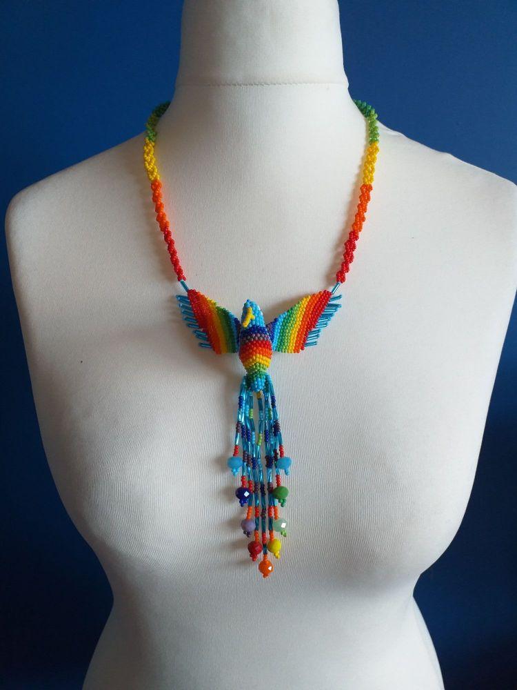 Beaded Rainbow Hummingbird Necklace