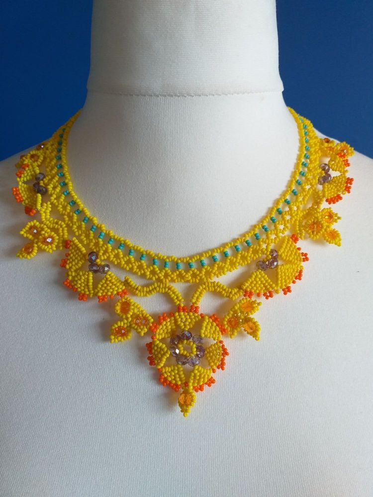 Lace Style Victoriana Beaded Collar Necklace