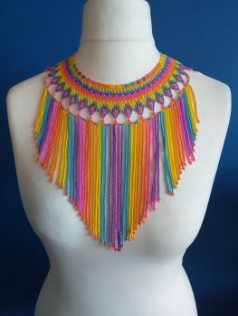 Rainbow Single Bead Strand Collar Necklace