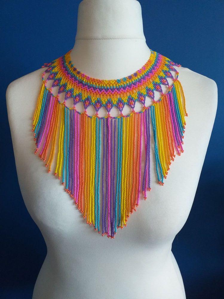 Rainbow Single Bead Strand Collar Necklace