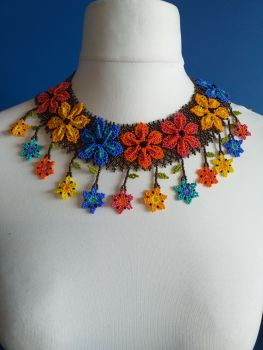Flower Drop Multi-coloured Collar Necklace