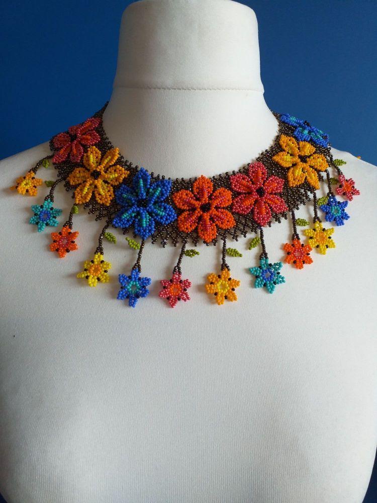 Flower Drop Multi-coloured Collar Necklace