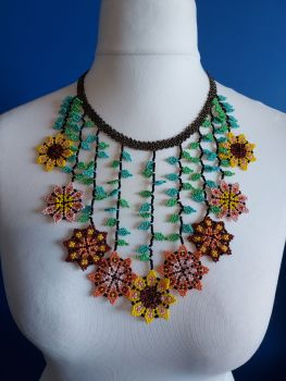 Autumn Sunflowers Drop Beaded Necklace