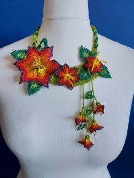 Off Centre Flower Necklace - Red