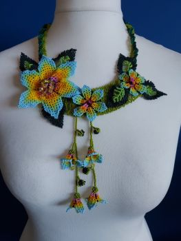 Off Centre Flower Necklace - Turquoise