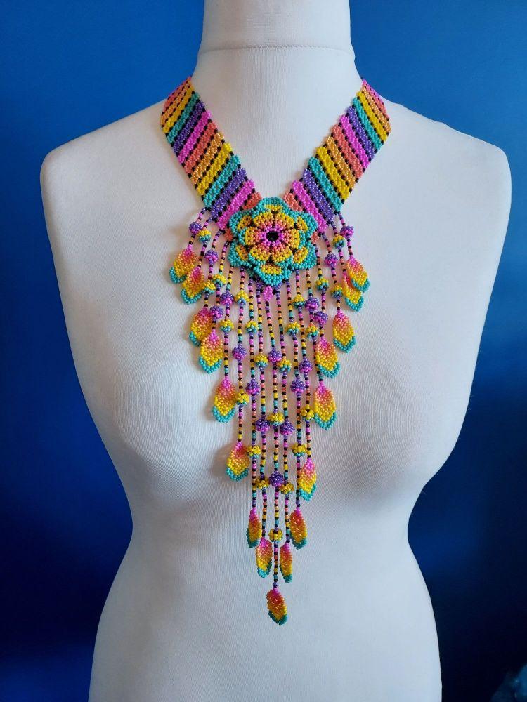 Rainbow V Flower Drop Necklace