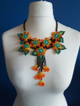 7 Flower Panel Necklace - Orange and Yellow