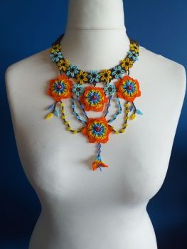 Victoriana Orange and Blue Flower Beaded Necklace