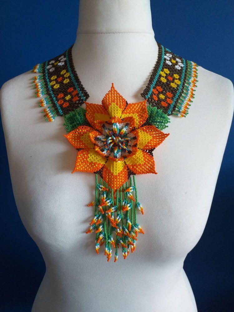 Statement Aztec Geo Flower Beaded Necklace