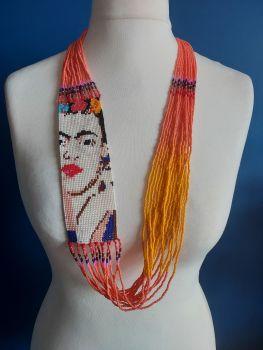 Orange & Coral Frida Beaded Necklace