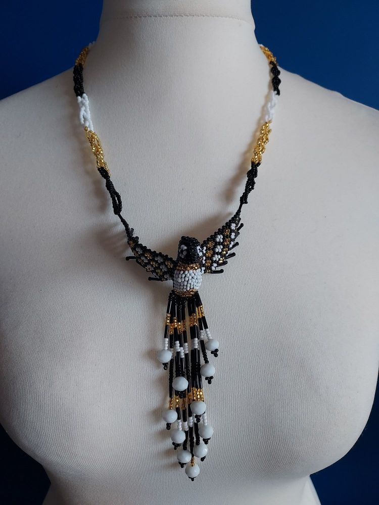 Hummingbird Beaded Necklace - Black Gold White