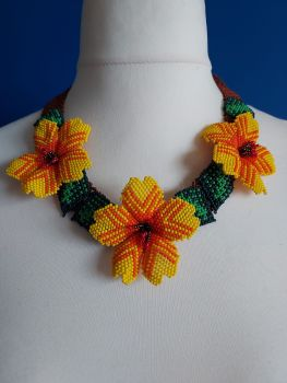 Yellow Orange 3 Flower Collar Necklace on Brown