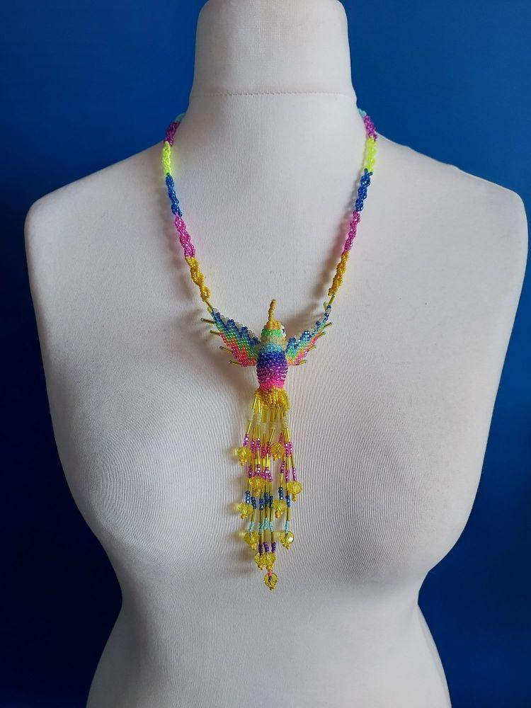 Hummingbird Beaded Necklace - Primrose Yellow Rainbow