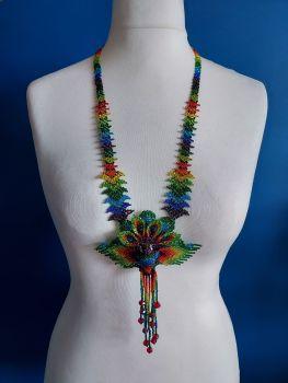 Hummingbird Flower Necklace - Purple Blue Rainbow
