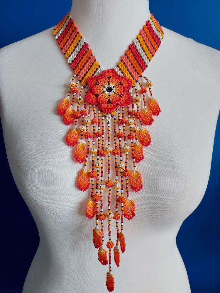 Orange Stripe V Flower Drop Necklace