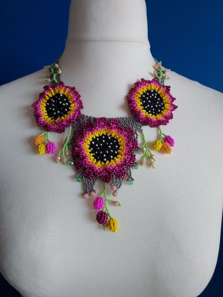 Purple 3 Flowers Huichol Necklace