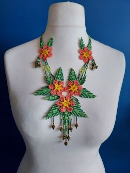 Delicate Coral Summer Flower Beaded Necklace
