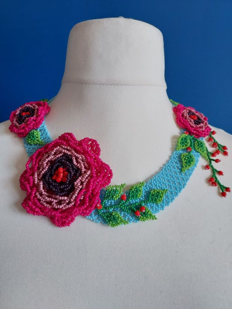 Turquoise and Fuchsia Pink Peony beaded Collar Necklace