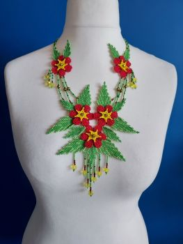 Delicate Red Summer Flower Beaded Necklace