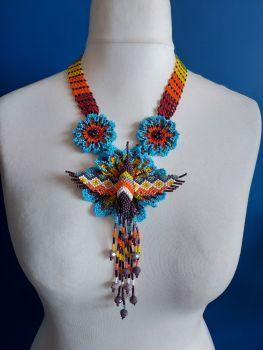 Hummingbird Flower Necklace - Blue Rainbow