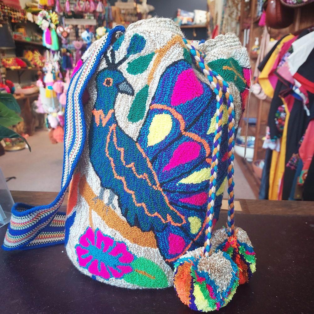 Colombian Wayuu Mochila Bag - Peacock