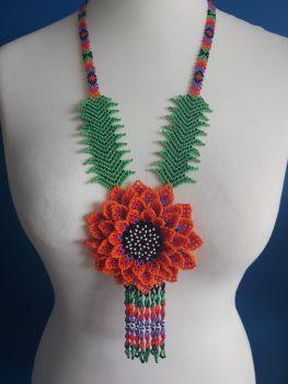 Beaded  Flower Necklace - Orange & Purple Long Sunflower