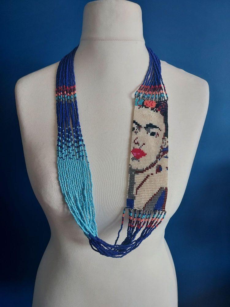 Blue Frida Beaded Necklace