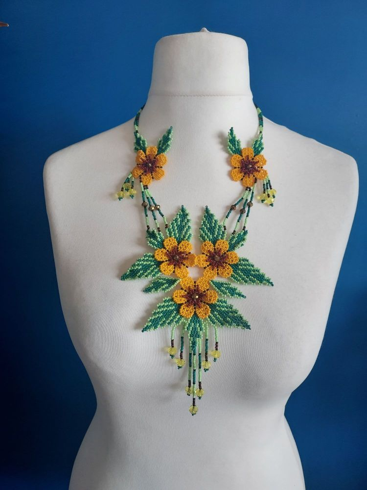Delicate Yellow Summer Flower Beaded Necklace
