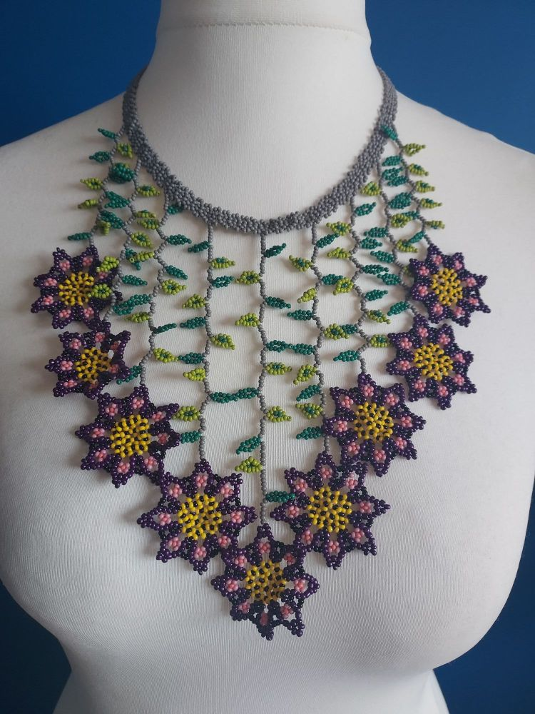 Purple & Grey Flowers Drop Beaded Necklace