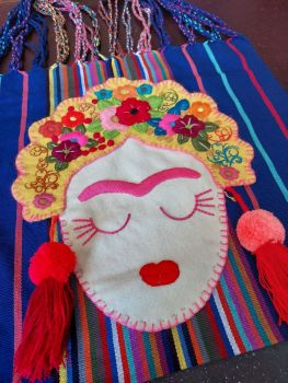 Embroidered Frida Bag - Blue