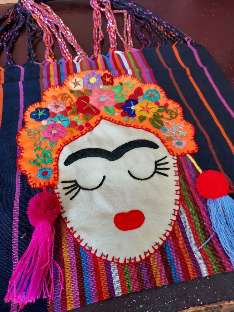 Embroidered Frida Bag - Dark Navy Blue