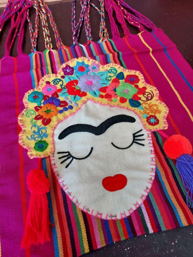 Embroidered Frida Bag - Fuchsia Pink and Yellow