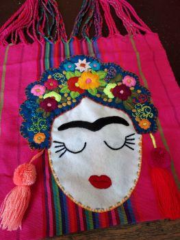 Embroidered Frida Bag - Hot Pink and Blue