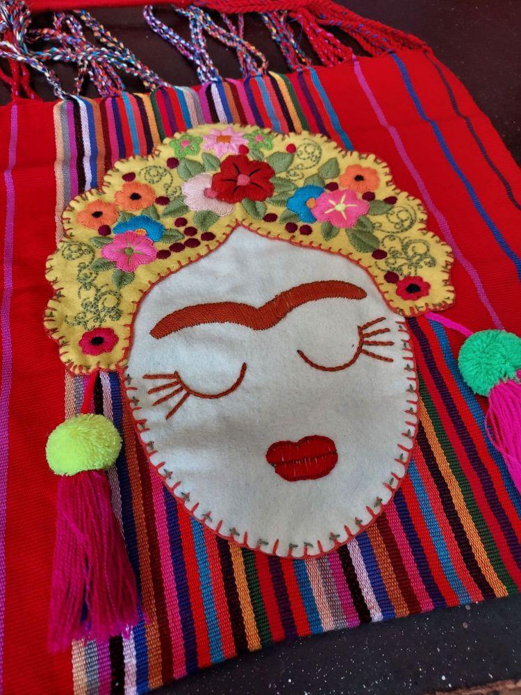 Embroidered Frida Bag - Red