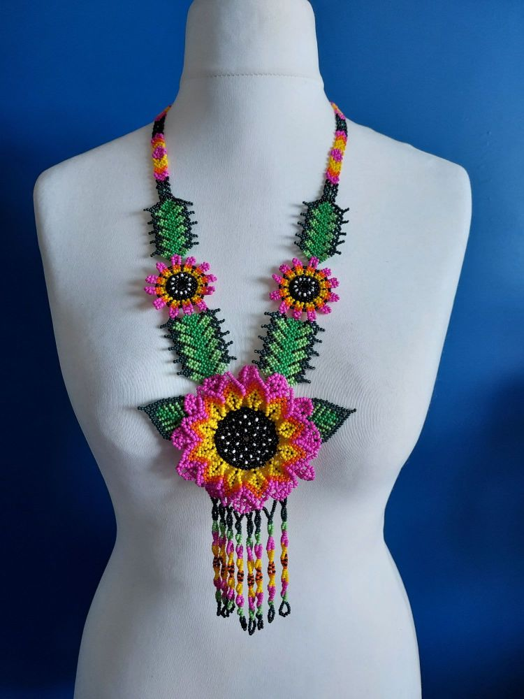 Beaded  Long Sunflower Necklace - Hot Pink
