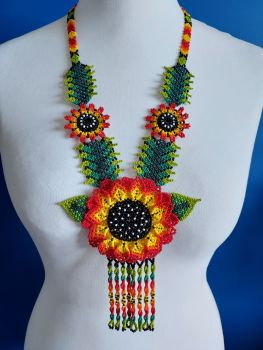 Beaded  Sunflower  Long Necklace - Red