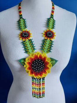 Beaded  Sunflower  Long Necklace - Yellow 1