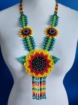 Beaded  Sunflower  Long Necklace - Yellow 2