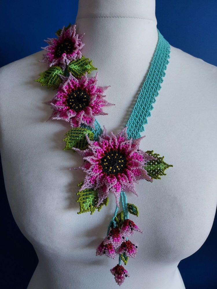 3 Flower Offset Sunflower - Pink and Duck Egg Blue