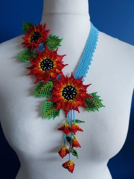 3 Flower Offset Sunflower - Red and Blue