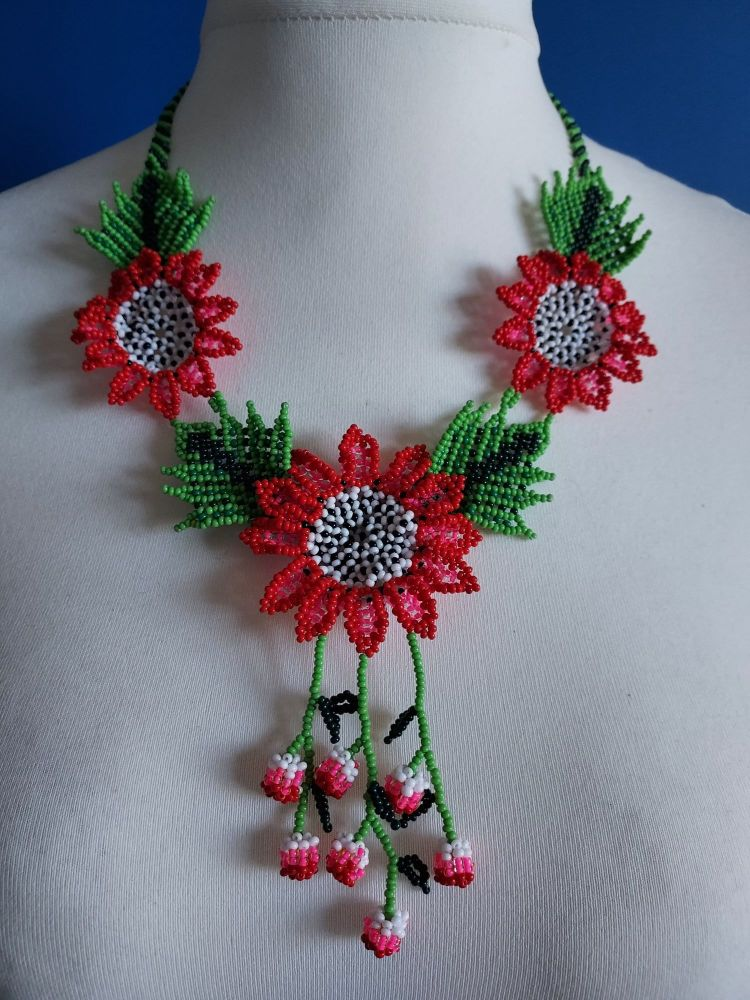 Shorter Length Beaded Necklace - Cherry Red