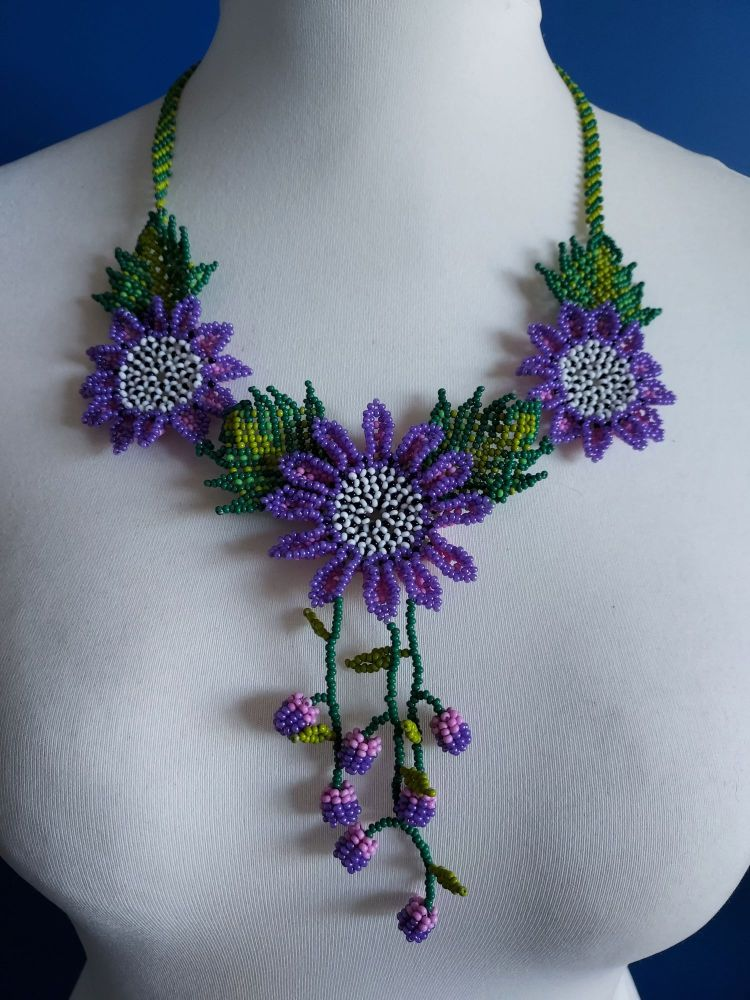 Shorter Length Beaded Necklace - Purple